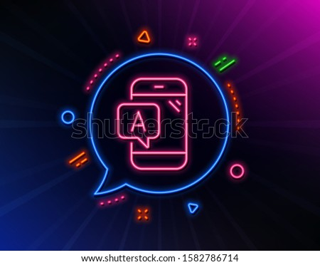 Ab testing line icon. Neon laser lights. Ui phone test sign. Glow laser speech bubble. Neon lights chat bubble. Banner badge with ab testing icon. Vector