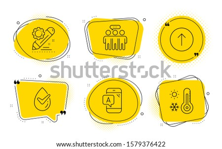 Ab testing, Project edit and Weather thermometer signs. Chat bubbles. Swipe up, Dermatologically tested and Employees group line icons set. Scroll screen, Organic, Collaboration. Phone test. Vector