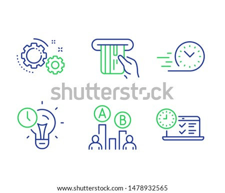 Ab testing, Time management and Credit card line icons set. Gears, Fast delivery and Online test signs. Test chart, Idea lightbulb, Atm payment. Work process. Technology set. Vector
