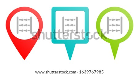 abacus, counting. Multicolor pin vector icon, diferent type map and navigation point.