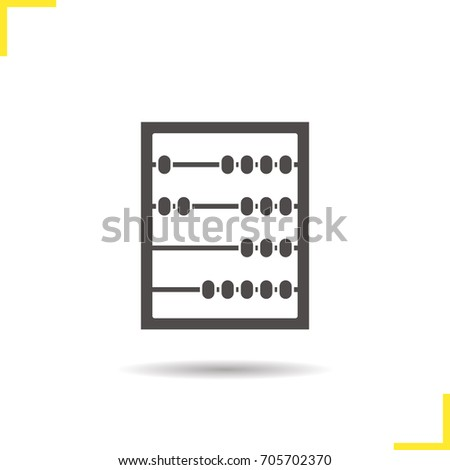 Abacus glyph icon. Drop shadow silhouette symbol. Negative space. Vector isolated illustration