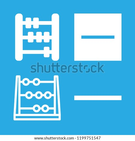 abacus icons set with abacus calculating tool for maths, mathematical abacus and substract vector set
