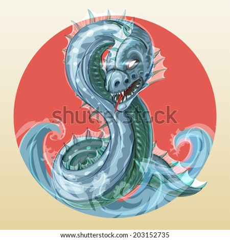 Abaia fantastic fierce sea serpent or ocean dragon symbol of water in japanese style