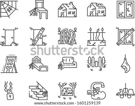 abandoned house line icon set