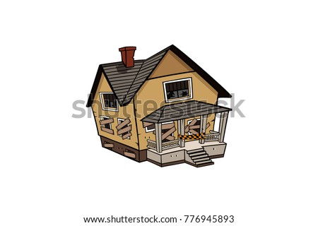 abandoned house vector