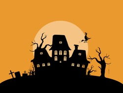 Abandoned mystical house in cemetery illustration. Spooky old palace silhouette with dry trees and gravestones with flying witch vector broomstick.