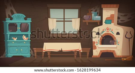 Abandoned old russian, ukrainian rural house with oven, dirty cupboard and table, torn curtains on the window. Vector cartoon illustration of empty wooden room, traditional russian kitchen with stove