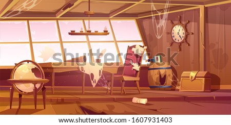 abandoned pirate ship cabin