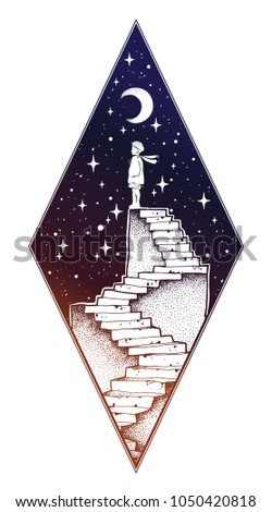 Abandoned ruin stairway to the night, with a boy looking at moon sky. Symbol of childhood, imagination, creative idea, motivation, dreams. Surreal tattoo. Isolated vector illustration.