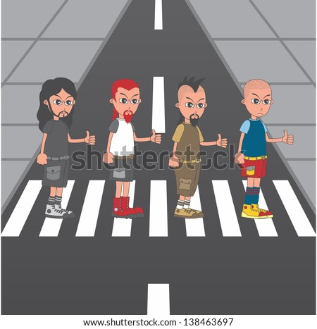 abbey road style cartoon