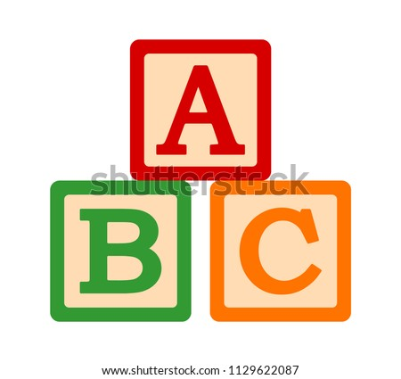ABC / ABCs toy blocks or cubes with letters for preschool learning flat vector color icon for apps and websites