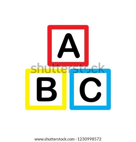 ABC block, ABC cube icon