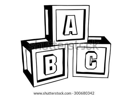Abc blocks doodle style blocks put together on white background stock vector illustration - Putting together stylish kitchen abcs ...