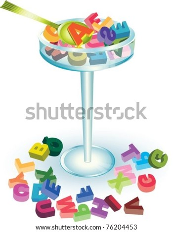 ABC cocktail with letters and spoon, vector