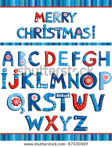 ABC. Colorful Christmas alphabet isolated on White background. Vector illustration