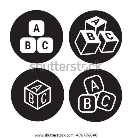 abc cubes icons set, black on a white background