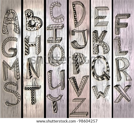 ABC, hand drawn alphabet over wood texture, beautiful vector illustration