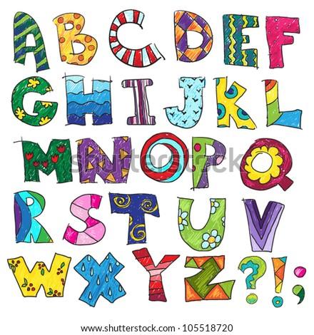 ABC. Kids funny alphabet, vector
