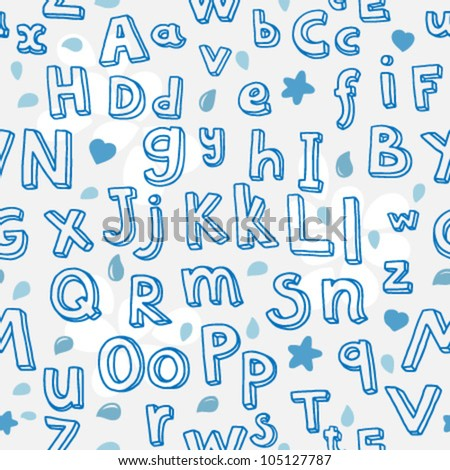 abc seamless pattern in grey and blue