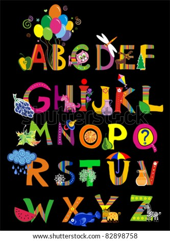 ABC. The complete childrens english alphabet spelt out with different fun cartoon animals and toys. Alphabet design in a colorful style.