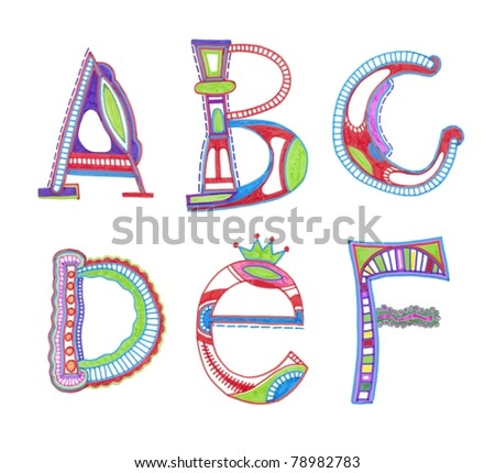 n alphabet design  ABC. vector font. Sketchy alphabet