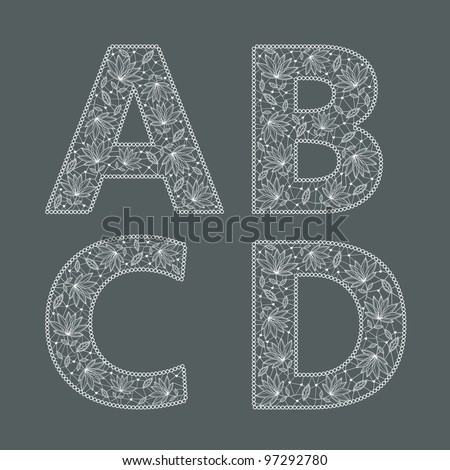 ABC. Vector set of lace fonts