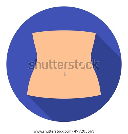 Shutterstock Abdomen icon in flat style isolated on white background. Part of body symbol stock vector illustration.