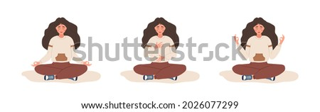 Abdominal breathing. Woman practicing belly breathing for good relaxation. Breath awareness yoga exercise. Meditation for body, mind and emotions. Spiritual practice. Flat cartoon vector illustration.
