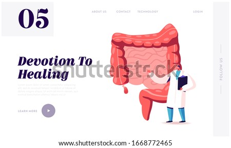 Abdominal Pain, Gastrointestinal System Disease Landing Page Template. Doctor or Medical Teacher Character Stand at Human Intestines with Sore Appendix Infographics. Cartoon Vector Illustration