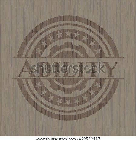 Ability badge with wooden background
