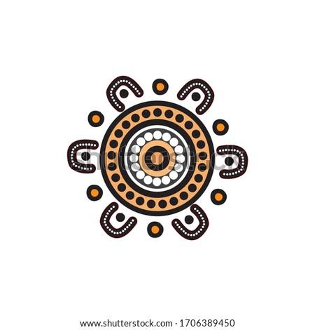 Aboriginal art dots painting icon logo design vector template Stock photo ©