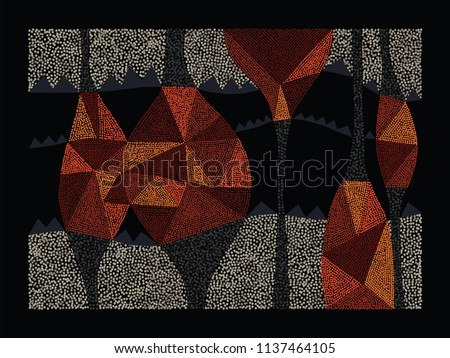 Aboriginal art vector background. Australian aboriginal dot painting style