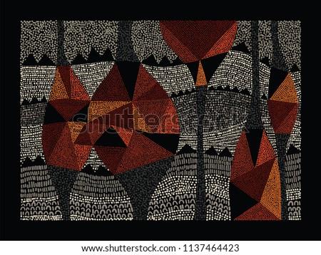 Aboriginal art vector background. Australian aboriginal dot painting style Stock photo ©