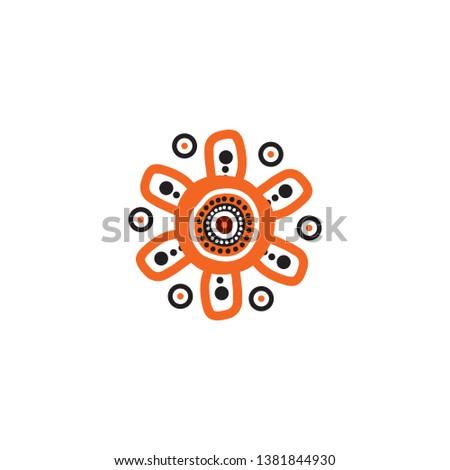Aboriginal indigenous art logo icon design vector template