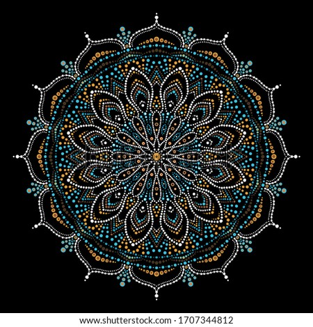 Aboriginal-style dot painting. Spot painting point to point. Abstract design of mandala in dot paint style. Ethnic patterns and motives Stock photo ©