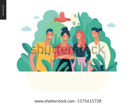 about company, contact -modern flat vector concept illustration of a company employees posing together. Business workflow management. Creative landing page design template