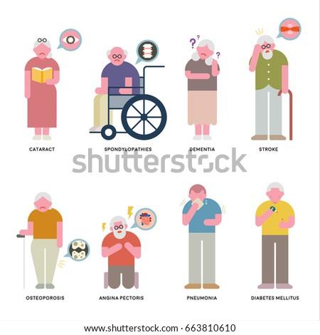 about Senile disease vector illustration flat design