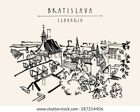 Above view of Bratislava, Slovakia, Europe. Vector artistic illustration. Travel postcard template with Bratislava, Slovakia hand lettering. Retro style sketch. Belfry, roofs, trees, sky #287254406