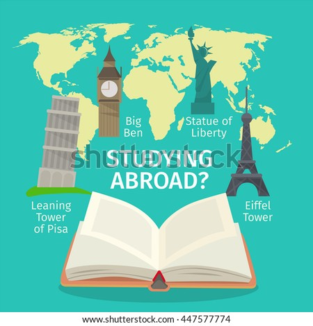 Abroad studying foreign languages concept. Colorful travel vector flat style illustration.