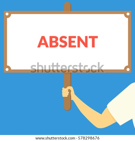 absent hand holding wooden sign