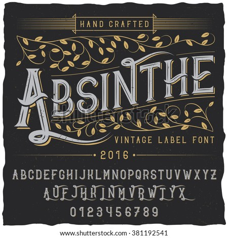 absinthe label font and sample