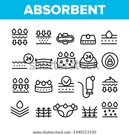 Absorbent, Absorbing Materials Vector Thin Line Icons Set. Absorbents For Moisture Control. Absorbing Breathable Textures For Children, Women Linear Pictograms. Water Drops Contour Illustrations