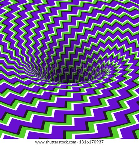 Absorbing hole of zigzag stripes pattern. Vector optical illusion background.