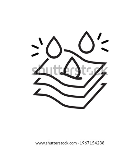 Absorption. Absorb soft layers and drops isolated on white. Sanitary care symbol. Moisture absorbing. Protect skin concept. Vector thin line icon. Foto stock ©