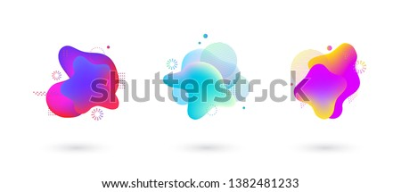 Absract fluid gradient spots with geometric symbols set. Set of spots with abstract elements for trendy pink, purple, blue and yellow color design. Vector illustration on isolated background. #1382481233