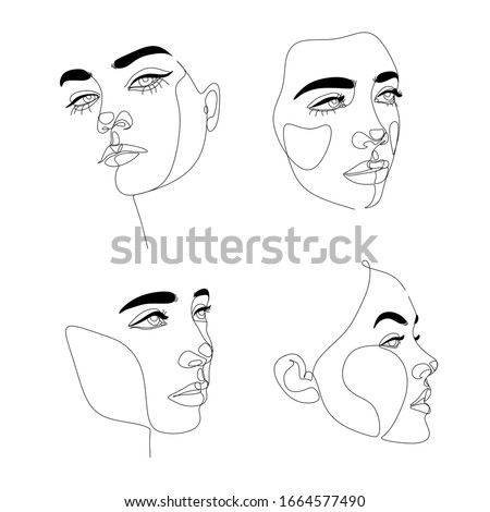Abstact line art vector face. Line drawing woman face. Single Line Face Art Print | Minimalist Woman Line Drawing | Simple Art Female Face | Woman Drawing |  People clipart