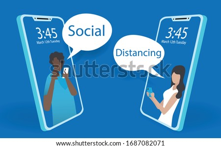 Abstact mobile phone view of a man and woman using mobile phone chatting together. Social distancing by using mobile phone on minimal blue background. Minimal modern design illustrator vector.