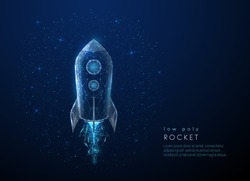 Abstact rocket flying in the space. Low poly style design. Abstract geometric background. Wireframe light connection structure. Modern 3d graphic concept. Isolated vector illustration.