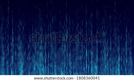 Abstrack background in matrix style. Falling particles. Glitch of matrix. Cybernetic futuristic background. Big data. Virus. Corrupted code. Blue dots. Music wave. Vector illustration.