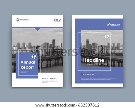 Abstract a4 brochure cover design. Template for banner, business card, title sheet model set, flyer, ad text font. Modern vector front page art with urban city river bridge. Blue square block icon